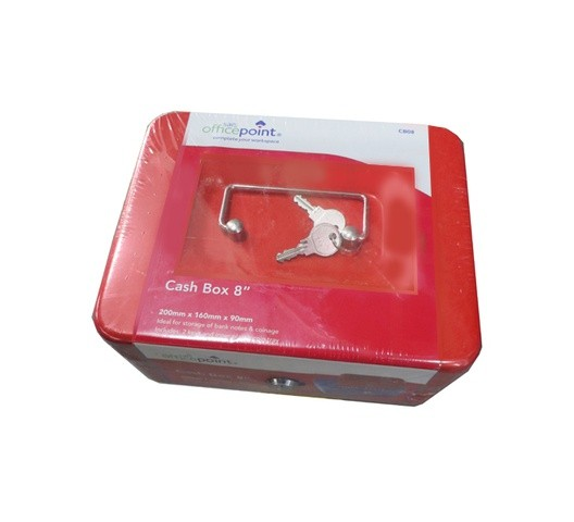 "OFFICE POINT CASH BOX 8"" Red"